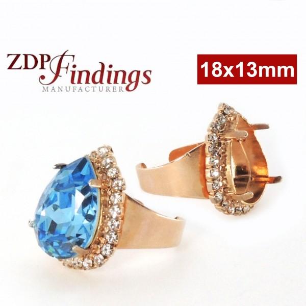 18x13mm 4320 Ring Base, Rose Gold