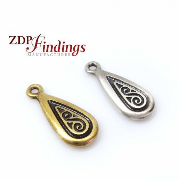 Large 24x10mm Carved Drop Pendant Charm
