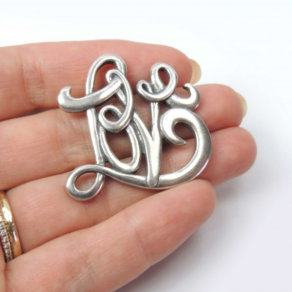 Large 40mm Love Initial Letters Pendant Charm