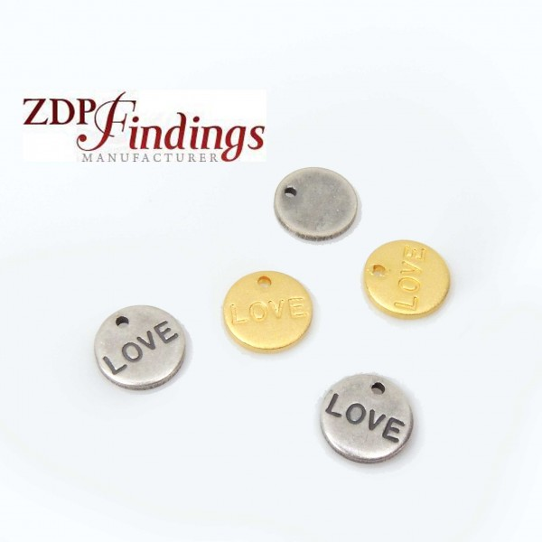 Round 8.5mm Plain Disc Love Charm Pendant