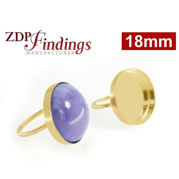 18mm Round Bezel on Ring,  Gold Filled. Choose your size.