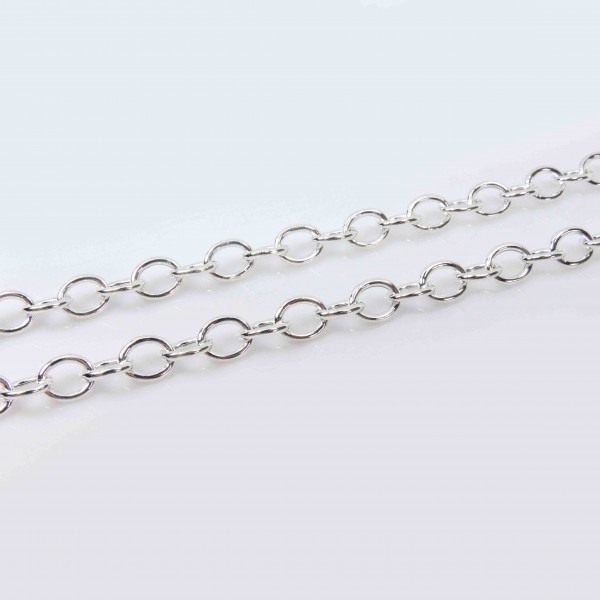 3.28 Feet Sterling Silver 925 Oval Links 9mm Chain