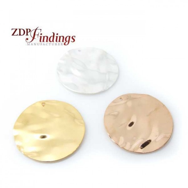 Round 20mm Hammered Disc Charm Pendant