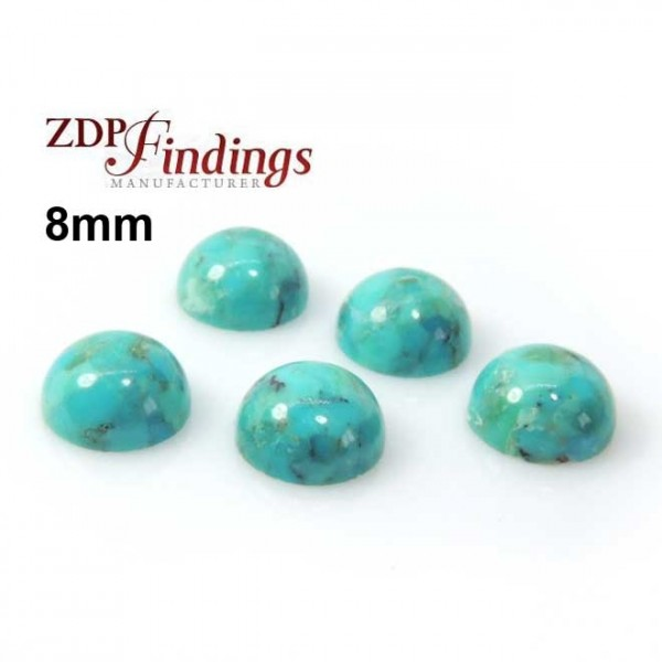 Blue Turquoise Stripes Round 8mm Cabochon