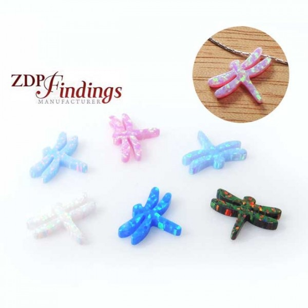 10x13mm Opal Dragonfly Bead Charm Pendant