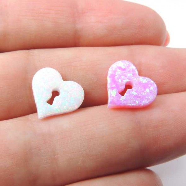 11x12mm Opal Lock Heart Bead Charm Pendant