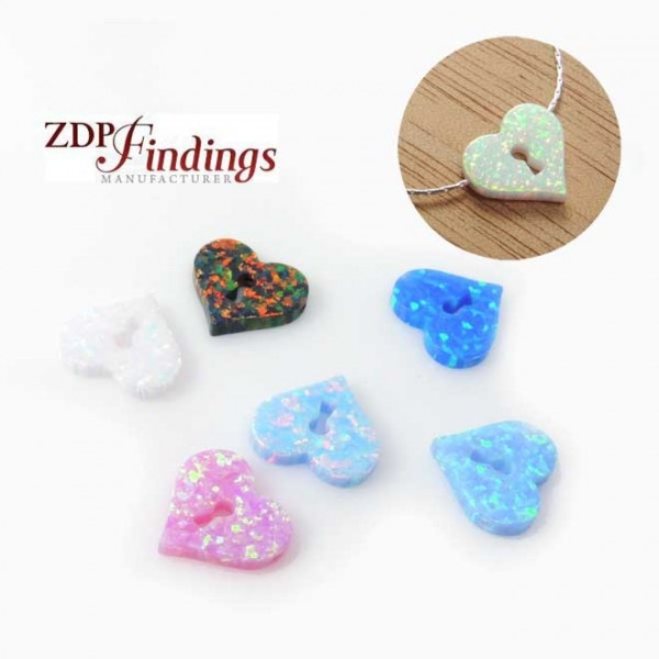 11x12mm Opal Lock Heart Bead Charm Pendant