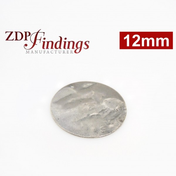 12mm Round Antique Silver Discs