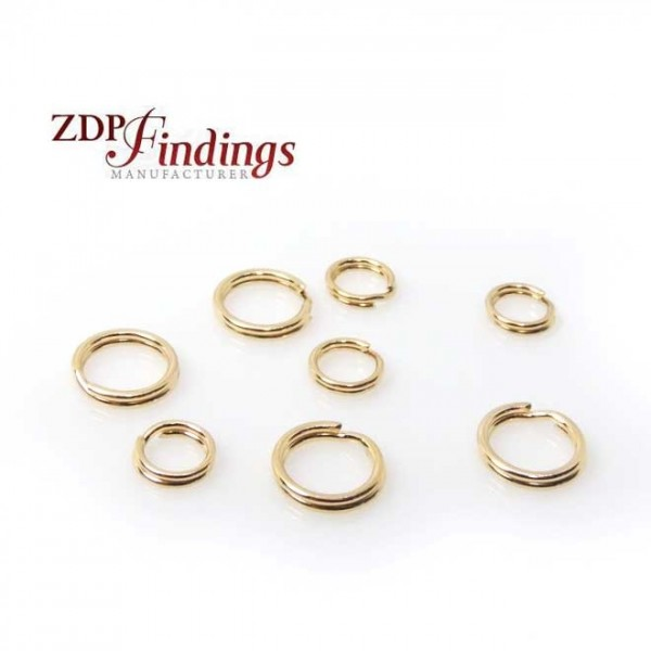 Round 5mm or 7mm 14K Gold Filled Split Rings Link