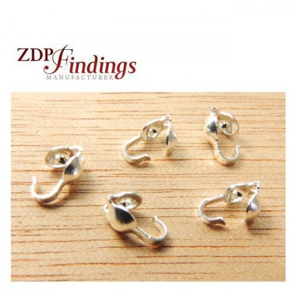 Sterling Silver 925 Crimp End Caps Bead Tips With 3mm Cord Place