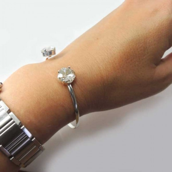 Bangle Bracelet with Swarovski 4470 Square 10mm