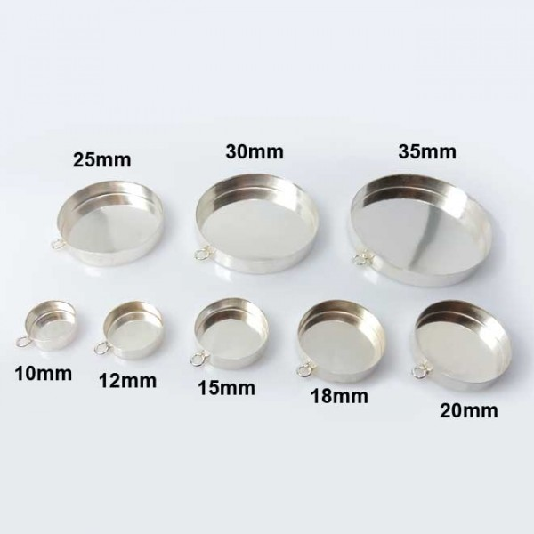 Very Deep Round Sterling Silver 925 Bezel Pendant