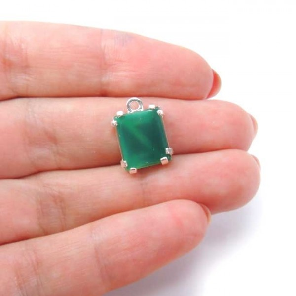 Octagon 12x10mm Pendant With Green Agat Gemstone