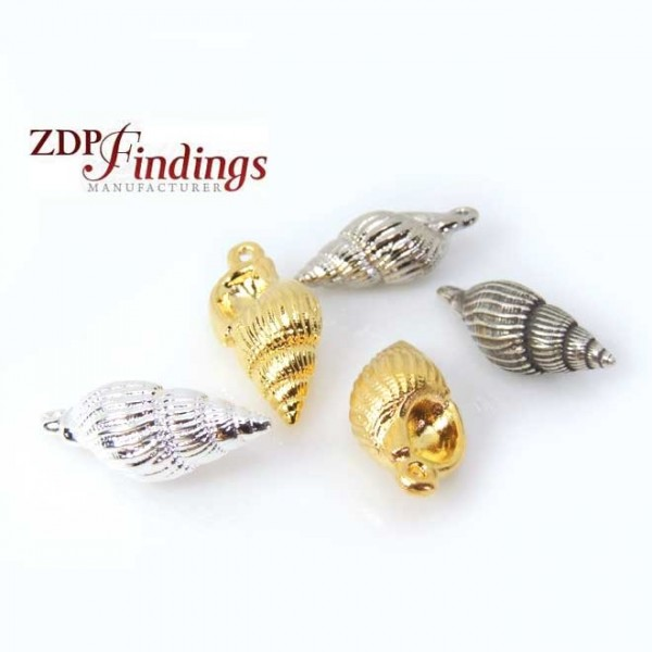 25mm Conch Spiral Shell Bead Charm Pendant
