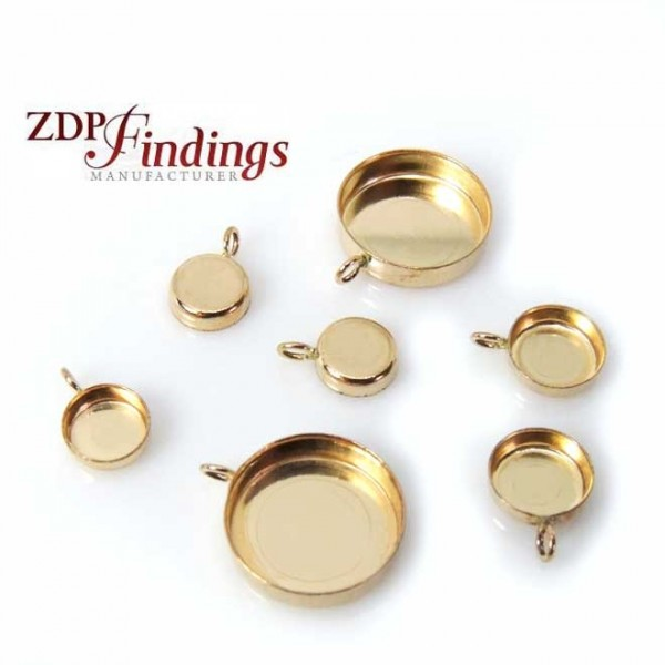 Gold Filled Round Bezel Cup Tray Pendant