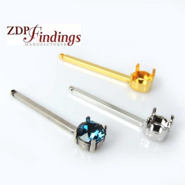 Long 38mm Bar Pendant Earring Setting fit Swarovski ss39