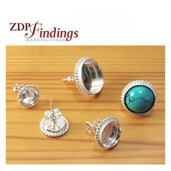 Silver 925 Round Ball Wire Bezel Post Stud Earrings