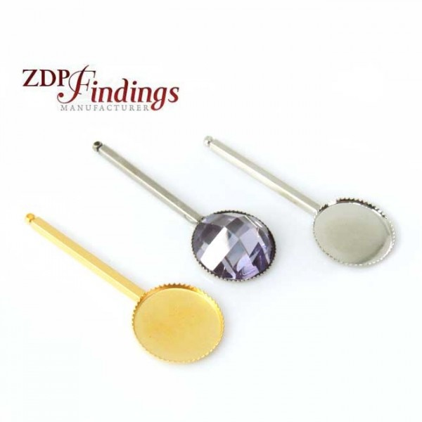 Long 45mm Bar Pendant Earring Setting fit Round 16mm Stone