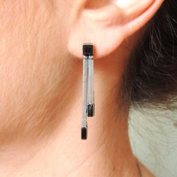 40mm Antique Silver Double Bar Black Crystal Post Earrings