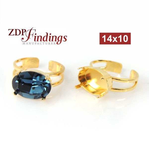 Oval 14x10mm Adjustable Ring Setting Fit Swarovski 4120