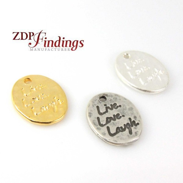 Oval 18x15mm Plain Disc Love Charm Pendant