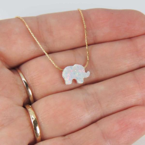 10x8mm White Opal Elephant Bead Charm Pendant