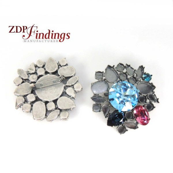 60x65mm Antique Silver Brooch Fit Swarovski 27mm, 4120, 4320