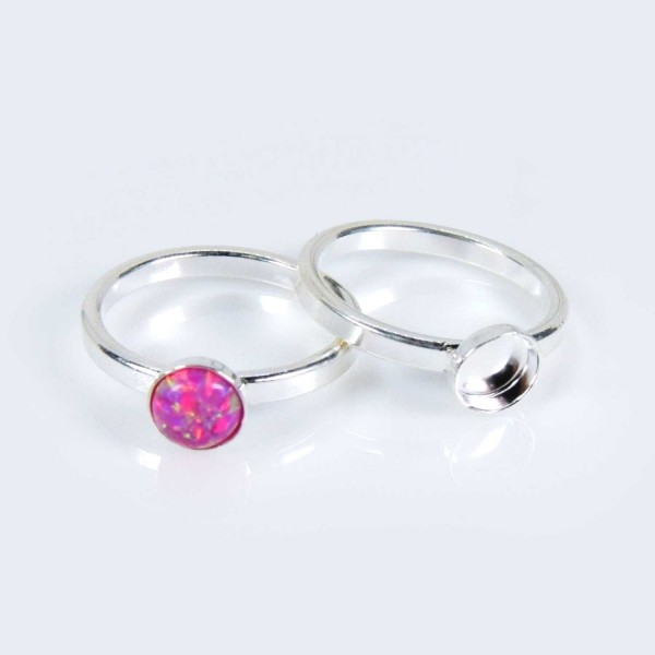 Round 6mm bezel cup Ring Size 8 Silver Plated
