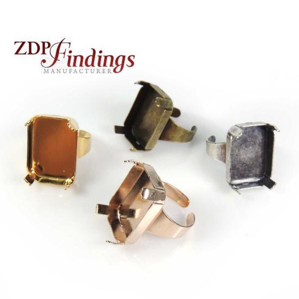 Octagon 25x18mm Bezel Adjustable Ring Fit Facet Gems