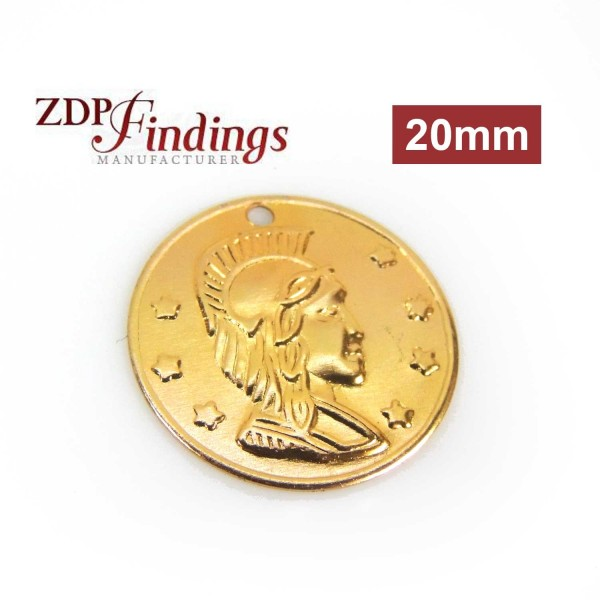 Round 20mm Roman Medallion Gold Plated Coin