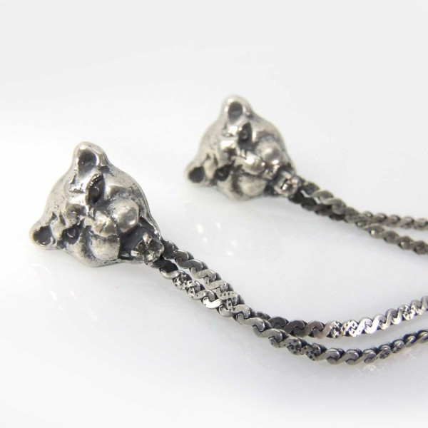 Lion Head 100mm Antique Silver Long Chain Post Earrings