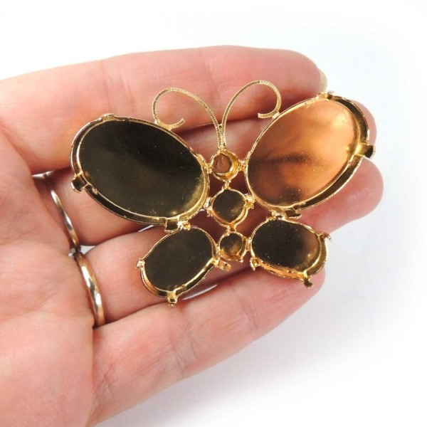 40x60mm Butterfly Brooch Pin Gold plated Setting