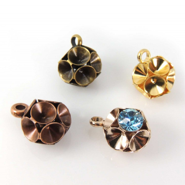 Round Ball Pendant Setting Fit 6 pcs Swarovski SS34-Antique Copper