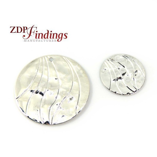 Round Silver Hammered Disc with Hole