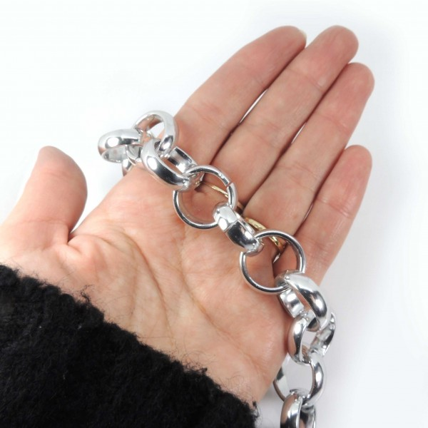 3.28FT (1 MT) Huge Silver Plated Rolo Chain 20mm Link