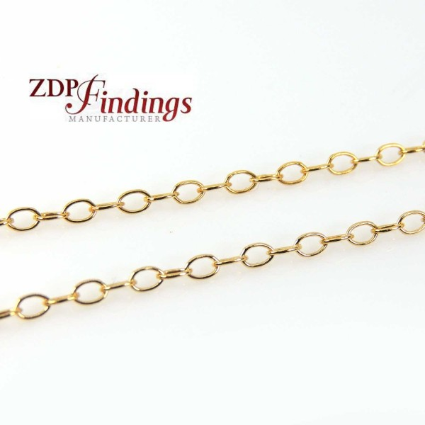 14k Gold Filled Rolo Chain 2x3mm links - 1 Meter