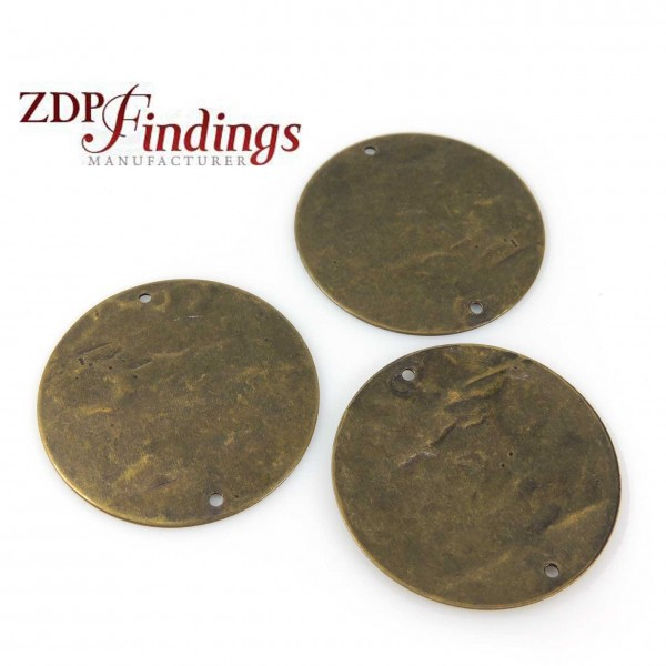 Round 30mm Brushed Hammered Antique Brass Discs