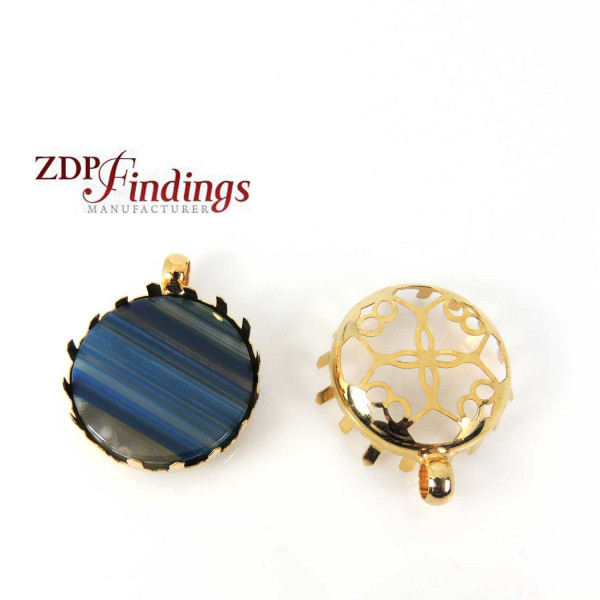 Round 25mm Gold Plated Filigree Base Bezel Pendant