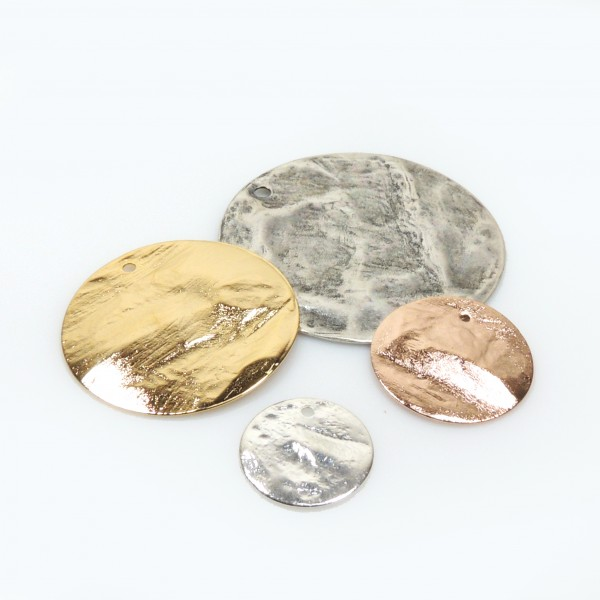 Brushed Hammered Disc Pendant Charm with Hole