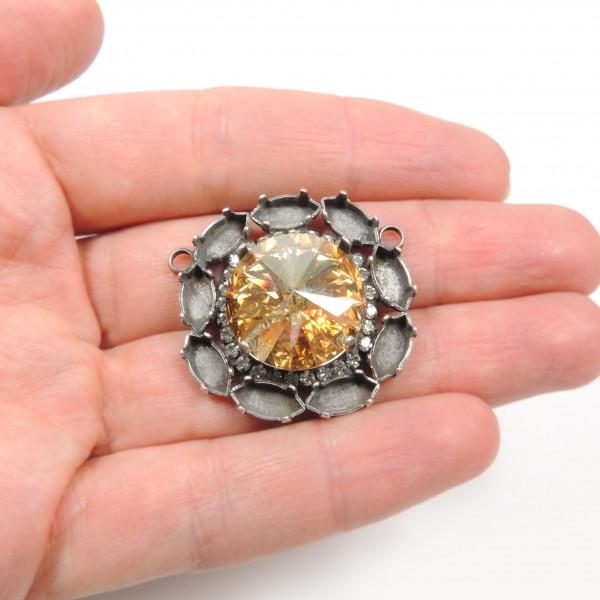 18mm Round Centerpiece with Crystals Fit Swarovski 1122