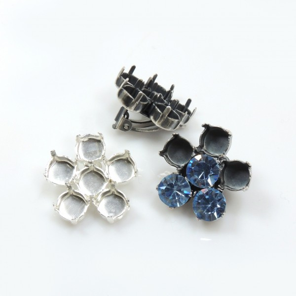 Flower Shape Clip on Earrings Settings Fit Swarovski SS39