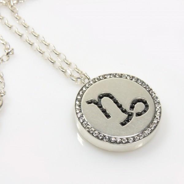 Capricorn Zodiac Charm Silver 925 Rhinestone Pendant Necklace