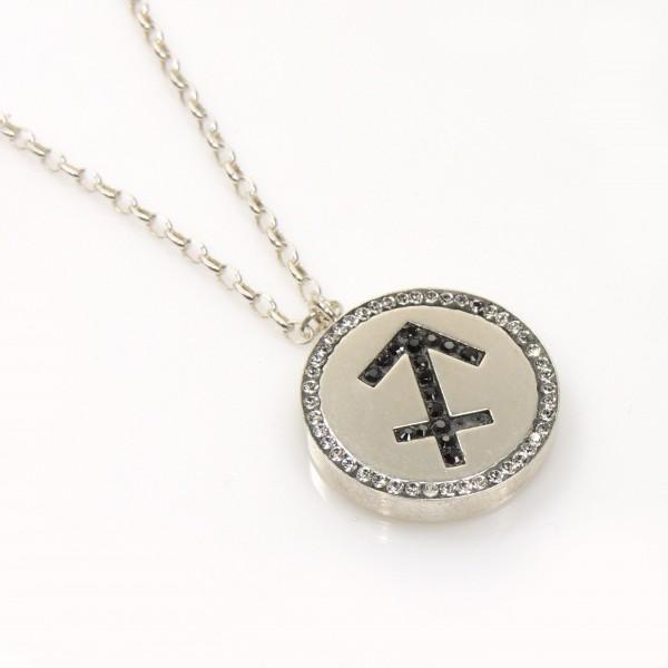 Sagitarius Zodiac Charm Silver 925 Rhinestone Pendant Necklace