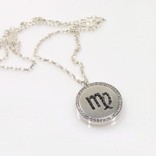 Virgo Zodiac Charm Silver 925 Rhinestone Pendant Necklace