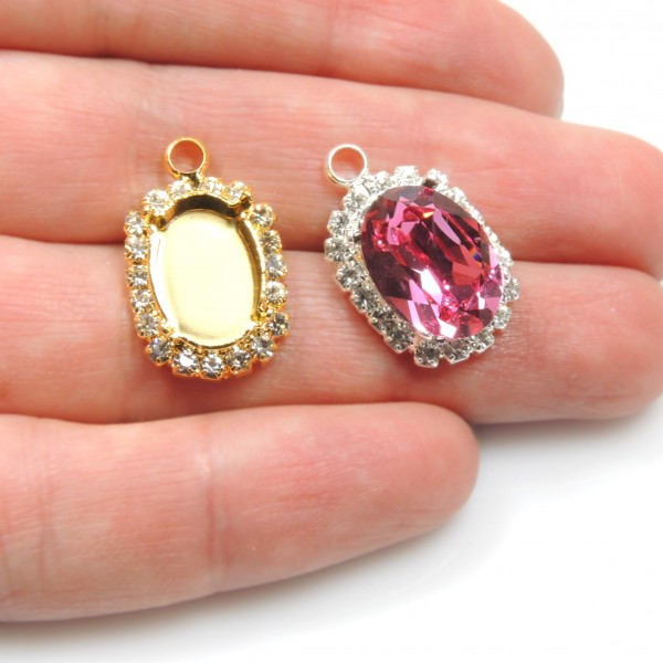 Oval 14x10mm Pendant with Crystals fit Swarovski 4120