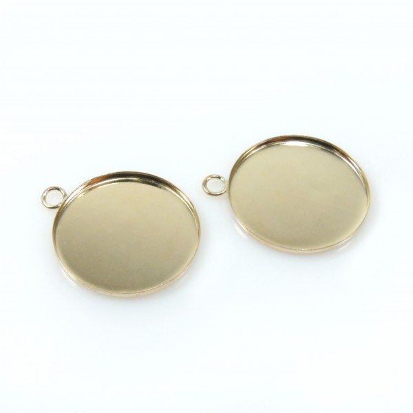 18mm Round Gold Filled Bezel Cup with 1 Loop