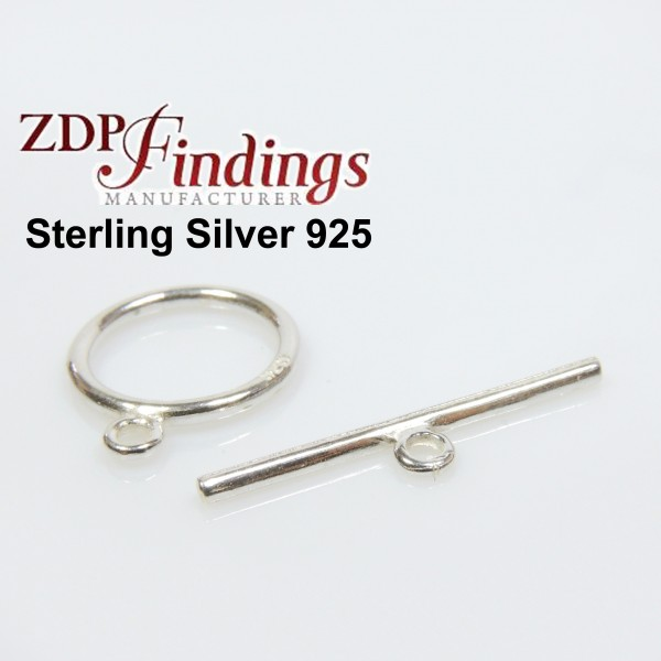 Sterling Silver 925 Round Toggle Clasp 13mm