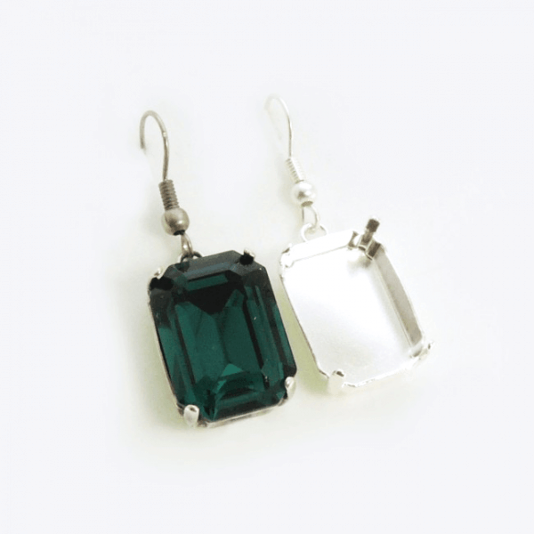 Octagon 18x13mm Bezel Ear Wire Earrings fit Swarovski 4610
