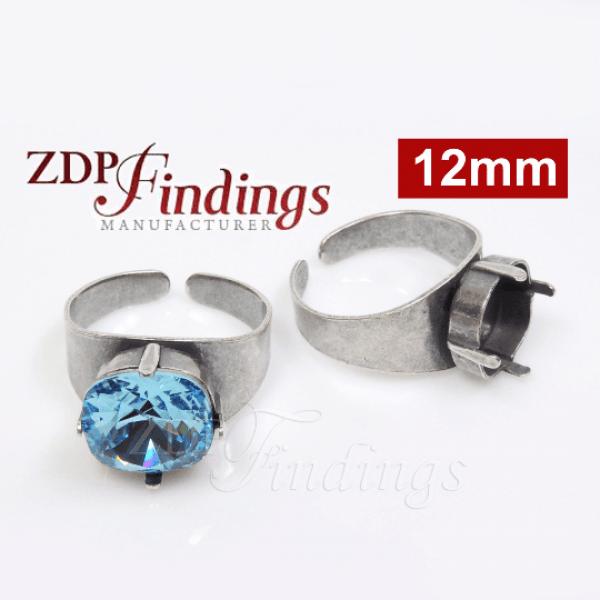 Square 12mm Adjustable Ring Bezel For Setting Suitable Swarovski 4470