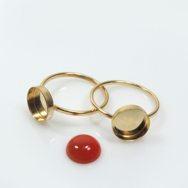 12mm Round Bezel on Ring, , Gold Filled. Choose your size.